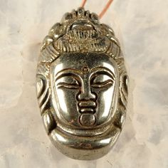 carved gemstones | Carved Silver PYRITE Gemstone Pendant Bead Buddha Kwan Yin Goddess ...