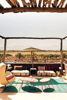 outdoor sitting area, Marrakech, Morocco