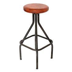 Decoración Vintage Gaucho - Taburete, tapa de simil cuero, base 37 x 37 cm, asiento diámetro de 30 cm, altura 79 cm, color negro - http://vivahogar.net/oferta/decoracion-vintage-gaucho-taburete-tapa-de-simil-cuero-base-37-x-37-cm-asiento-diametro-de-30-cm-altura-79-cm-color-negro/ -
