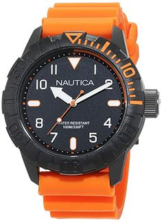Nautica Men s  NSR 106  Quartz Stainless Steel and Silicone Casual Watch 498f67dc140
