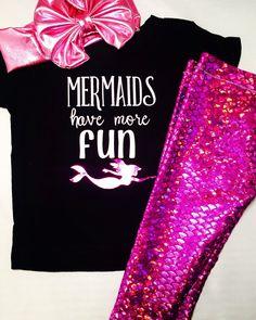 Baby Girl and Toddler Mermaid Leggings, Onesie or shirt & Headband by knotsandthreads1 on Etsy https://www.etsy.com/listing/384519354/baby-girl-and-toddler-mermaid-leggings