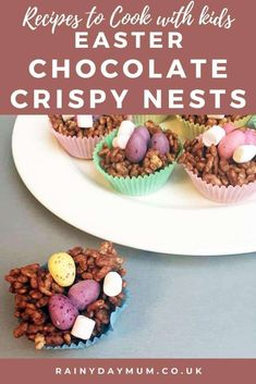 Simple no-bake recipe for spring chocolate nests to cook with kids. An ideal recipe to make with children from toddlers up and a delicious snack to enjoy Chocolate Nests, Cooking Chocolate, Easter Chocolate, Melting Chocolate, Mini Eggs, Cooking With Kids, Yummy Snacks, Rice Krispies, Main Meals