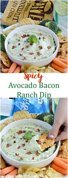 Spicy Avocado Bacon Ranch Dip - A light, fluffy dip that's perfect for your snack or appetizer table on game days, parties or anytime!
