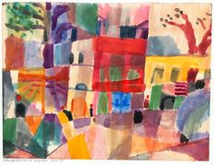 Paul Klee - Red and yellow Houses in Tunis, 1914. Watercolor and pencil. Zentrum, Switzerland