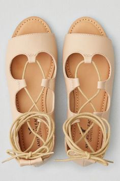 American Eagle Outfitters AE Lace-Up Open Toe Flat