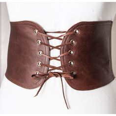 Brown Lace Up Corset Leather Belt ($66) ❤ liked on Polyvore featuring accessories, belts, brown corset belt, wide belts, brown leather belt, formal belts and leather belt