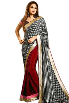 Buy Black Georgette Party Wear Saree Online in low price at Variation. Huge collection of Party Wear Sarees for Party, Festivals, Engagements and Ceremonies. #party #partywearsarees #sarees #onlineshopping #latest #lowprice #variation. To see more - https://www.variationfashion.com/collections/party-wear-sarees