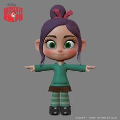 "Model of Vanellope from Wreck-it Ralph. From Chad Stubblefield: ""Vanelope (sic) design sculpt."""