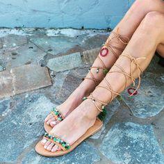 RiRiPoM Boho Leather Sandals Tie Up Gladiator Sandals
