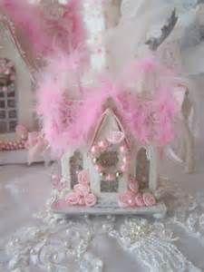 Shabby Chic Pink Christmas Village House Glitter Victorian Putz Style ...