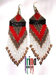 Hand-made by Irina Haluschak: earrings gray and red