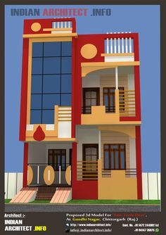Here is Plan and view of 1000 sq ft Modern contemporary villa design from Architect Shekhar Kumawat (Indian Architect Chittorgarh ) . House Front Wall Design, Single Floor House Design, Duplex House Design, Home Design Floor Plans, Modern House Design, Villa Design, Simple House Plans, Dream House Plans, House Floor Plans