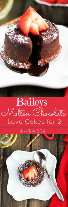 WOW...this is so delicious with crisp outer edges and a gooey inside!  The perfect Valentine's Day dessert for 2 with the added bonus of Baileys.