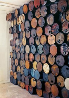 Wall of Oil Barrels, Galerie J, Paris, 1962 by christo & jeanne-claude Via miss-mary-quite-contrary. Barris, Oil Barrel, Oil Drum, Creation Deco, Vintage Design, Of Wallpaper, Land Art, Metal Art, Wall Art