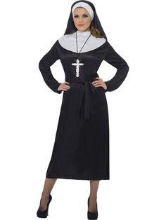 PREGNANT NUN COSTUME BLACK RELIGIOUS FUNNY FANCY DRESS UNISEX MOTHER SUPERIOR