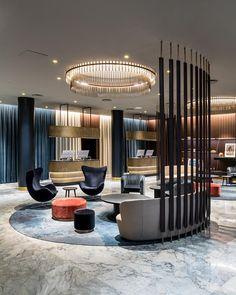 Arne Jacobsen's iconic Copenhagen hotel finally gets a makeover Hotel Lobby Design, Modern Hotel Lobby, Hotel Bedroom Design, Corporate Office Design, Decoration Inspiration, Interior Design Inspiration, Design Ideas, Decor Ideas, Hotel Interiors