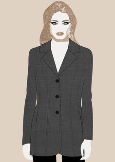 Dark Grey Blazer, fashion illustration