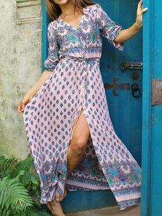 Pink Boho Floral Print Button Front Maxi Dress
