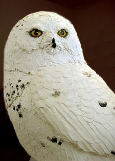 Snowy owl made with paper mache clay. Snowy owl made with paper mache clay. Making Paper Mache, Paper Mache Clay, Paper Mache Sculpture, Clay Art, Paper Mache Projects, Paper Mache Crafts, Paper Owls, Paper Art, Origami