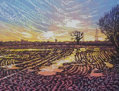 "linocut by Louise Stebbing - ""Flooded Fields"""
