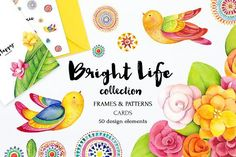 Bright life watercolor set by SoNice on creativemarket, Graphic Design resources, Templates, products,