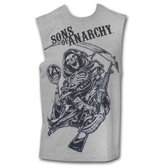 Sons Of Anarchy Men's New Reaper Grey Tank Top