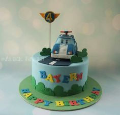 Robocar Poli, Police car theme cake Little Boy Cakes, Baby Boy Cakes, Police Car Cakes, Cars Theme Cake, Car Cakes For Boys, Dino Cake, Party Treats, Sweet Cakes, Creative Cakes