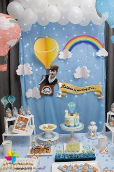 Backdrop and dessert / candy table for a Hot Air Balloon - Growing Up, Up, Up themed birthday party. Design and setup by ParteeBoo - The Party Designers.