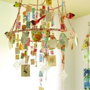 I've got lampshade guts in my studio.  It was just too neat to toss out.  DIY Lamp Shade Mobile