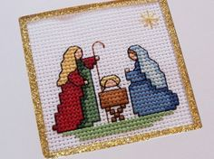 Nativity Cross Stitch Greeting Card by BeccaJeanDesigns on Etsy