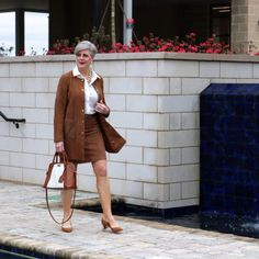 1.2.3. suede jacket and skirt, silk blouse, ann taylor suede pumps