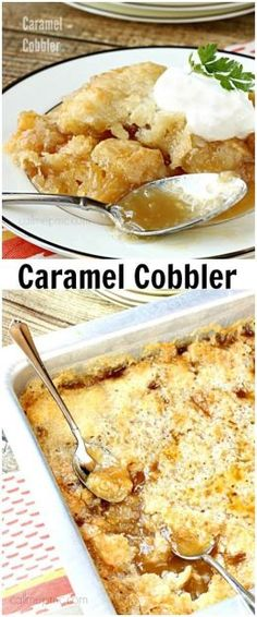 Caramel Cobbler recipe is the perfect dessert, buttery crust, caramel filling, top it with ice cream = perfection!