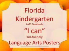 Florida Kindergarten 2014 2015 LAFS ELA Language Arts Standards Posters