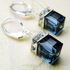 Handmade swavorski Earrings | Sapphire Crystal Earrings, Blue, Swarovski, Sterling Silver, Wedding ...
