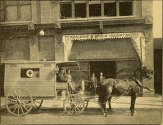 """4. This historic photo was captured in Birmingham, Alabama during the year 1909. It was used in an advertisement for a """"First-Class Ambulance Service/Funeral Director/Funeral Chapel"""" business."""