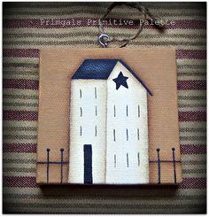 Primitive Saltbox House Mini Canvas Ornament