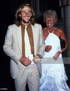 Bjorn Borg and mother Margaret during 1979 Wimbledon Winners Ball at Savoy Hotel.