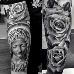 3d Black And White Rose Tattoo Designs 38 awesome saint mary tattoos