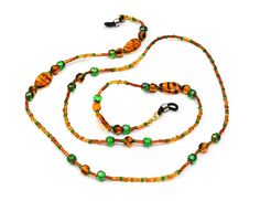 Aerosvar glasses chain with glass beads, brown tiger-stripes & green glass cut beads made in Vienna Tiger Stripes, How To Make Beads, Cut Glass, Bracelet Making, Vienna, Chains, Glass Beads, Beaded Necklace, Glasses