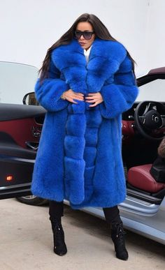 NEW 2018 BLUE ROYAL FOX FUR COAT CLASS- CHINCHILLA SABLE MINK SILVER LONG JACKET | eBay