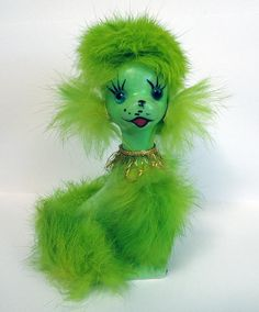 Vintage Norleans Japan Green Furry Poodle. new favourite thing, just need to find one of my own.