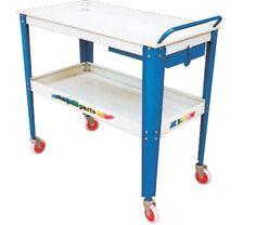 Mesa rodante doble bandeja para taller