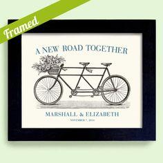 Einzigartige Engagement Geschenk gerahmt Decor Hochzeitsgeschenk für Paare Fahrrad für zwei Brautdusche