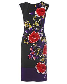 Women's Black Kimono Border Print Dress
