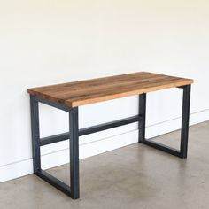 Gotten back Wood Desk / Business Barn Wood Desk and Modern Wood And Metal Desk, Diy Wood Desk, Reclaimed Wood Desk, Metal Desks, Diy Desk, Repurposed Wood, Modern Wood Desk, Metal Desk Legs, Wood Benches