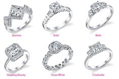 The Disney inspired engagement rings by Mouwad collection. love Jasmine, Ariel, and Belle