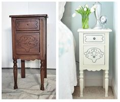 Nightstand Makeover... Annie Sloan Chalk Paint in Old White, allow it to dry then one coat of soft wax. To highlight the detail in the ridges apply some gray acrylic paint with an inexpensive artist鈥檚 brush.
