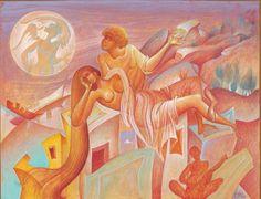 Nocturne by George Kordis Modern Art, Contemporary Art, Greece Painting, Greek Art, Visionary Art, Artist Gallery, Sacred Art, Nocturne, New Art