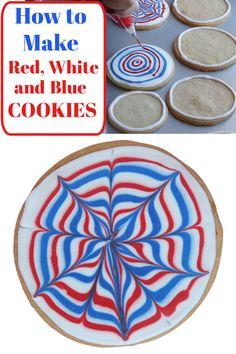 Red White and Blue Cookies recipe from RecipeGirl.com #red #white #blue #cookies #recipe #RecipeGirl Fun Baking Recipes, Best Cookie Recipes, Paleo Recipes, How To Make Red, Blue Cookies, Recipe Girl, Cookie Monster, Cookie Decorating, Fireworks