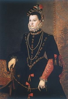 [http://www.pinterest.com/pin/138837600984574314/] | An overall view of Sofonisba Anguissola's 1565 portrait of Isabel Valois in a somber black dress.